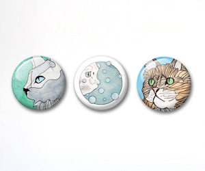 Cuddly Cat Button Pack - 3-Pack Pin Back Button, 1 Inch