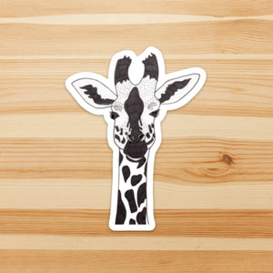 Sister Giraffe, Animal Inspired Watercolor Painting - Vinyl Die Cut Sticker