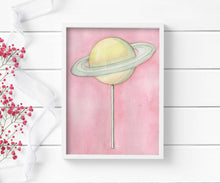 Load image into Gallery viewer, Planet Pop: Saturn - Confection Inspired Watercolor - Art Print