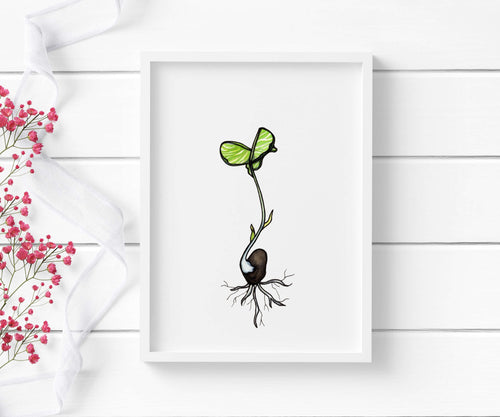 Black Bean Sprout - Garden Inspired Watercolor - Art Print