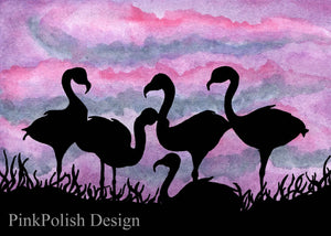 Lawn Flamingos - Bird  Inspired Watercolor - Art Print