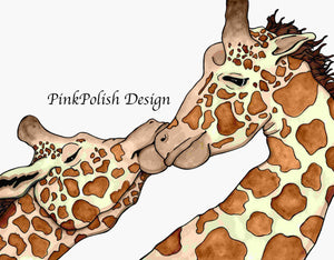 Giraffe Love - Animal Inspired Watercolor Painting - Art Print