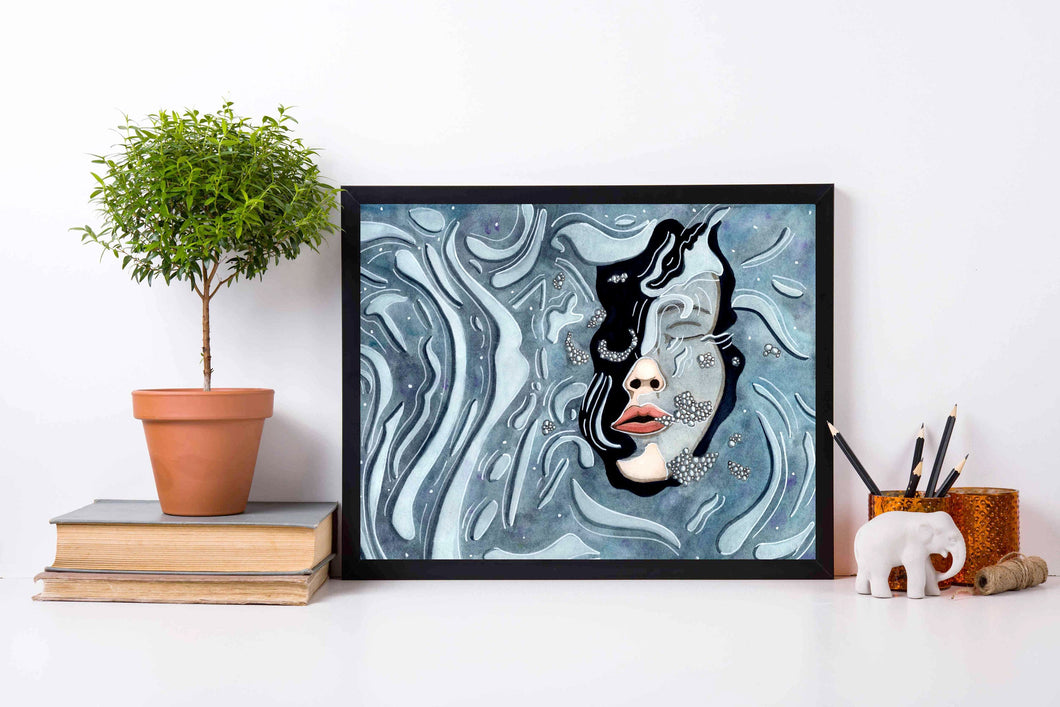 Underwater - Fantasy Inspired Watercolor Painting - Art Print