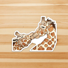 Load image into Gallery viewer, Giraffe Love - Kiss Inspired Watercolor - Vinyl Die Cut Sticker