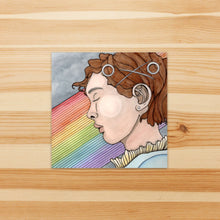 Load image into Gallery viewer, Xs and Os - Feminist Inspired Watercolor Painting -Vinyl Square Sticker