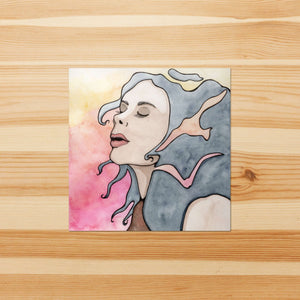 Take Flight - Feminist Inspired Watercolor Painting -Vinyl Square Sticker