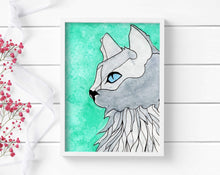Load image into Gallery viewer, Blue Eyed Cat - Pet Inspired Watercolor - Art Print