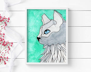 Blue Eyed Cat - Pet Inspired Watercolor - Art Print