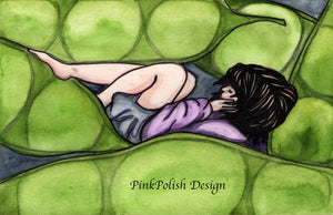 Pea in the Pod - Relaxation Inspired Watercolor - Art Print