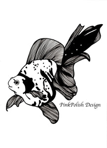 Goldie - Goldfish Inspired Ink Drawing - Art Print