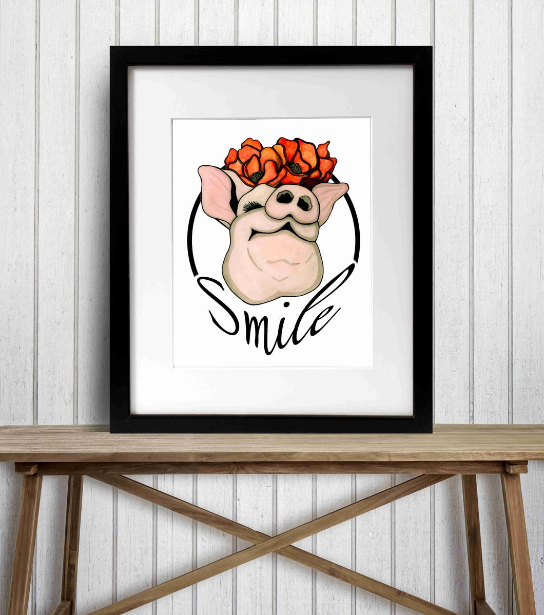 Poppy Pig - Smile Inspired Watercolor Painting - Art Print