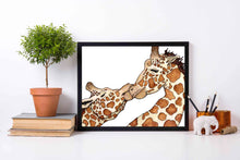Load image into Gallery viewer, Giraffe Love - Animal Inspired Watercolor Painting - Art Print