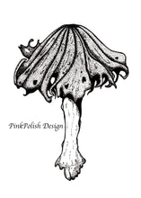 Load image into Gallery viewer, Alcohol Inky Mushroom - PNW Fungi Inspired Ink Drawing - Art Print