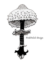 Load image into Gallery viewer, Shaggy Parasol Mushroom - PNW Fungi Inspired Ink Drawing - Art Print