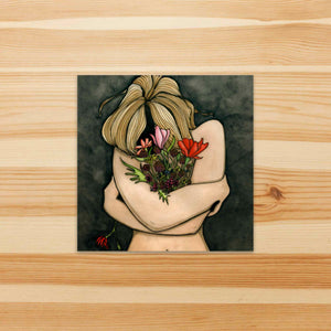 In Darkness Bloom - Mental Health Inspired Watercolor Painting - Vinyl Square Sticker