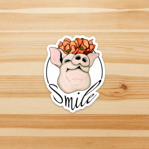 Poppy Pig - Smile Inspired Watercolor - Vinyl Die Cut Sticker