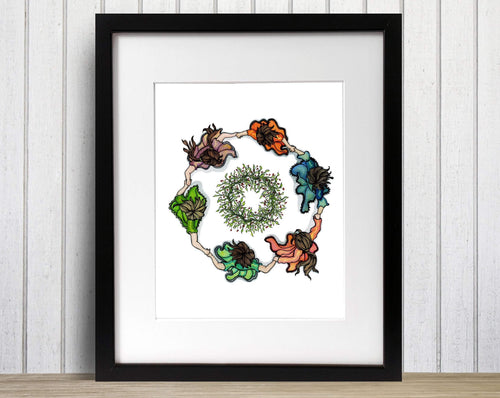 Ring - Ring Around the Rosies Inspired Watercolor Painting - Art Print