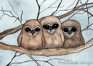 Owl Huddle - Cuddle Inspired Watercolor - Art Print