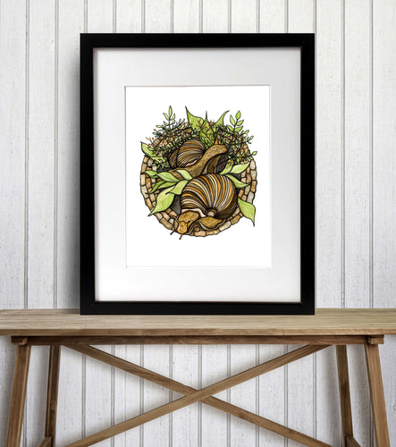 Snail Garden - PNW Inspired Watercolor Painting - Art Print