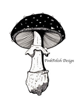 Load image into Gallery viewer, Amanita Pettit Mushroom - PNW Fungi Inspired Ink Drawing - Art Print