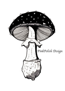 Amanita Pettit Mushroom - PNW Fungi Inspired Ink Drawing - Art Print