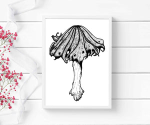 Alcohol Inky Mushroom - PNW Fungi Inspired Ink Drawing - Art Print