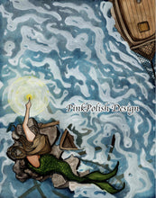 Load image into Gallery viewer, Lighthouse Mermaid - Mythology Inspired Watercolor Painting - Art Print