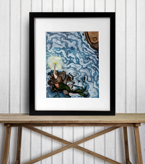 Lighthouse Mermaid - Mythology Inspired Watercolor Painting - Art Print