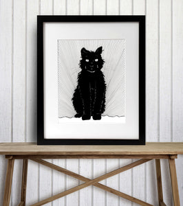 Luna Cat - Pretty Kitty Inspired Ink Drawing Illustration - Art Print