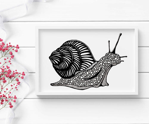 Snail's Pace, Ink - PNW Inspired Ink Drawing - Art Print