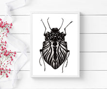 Load image into Gallery viewer, Beetle Inspiration - Entomology Inspired Ink Drawing - Art Print