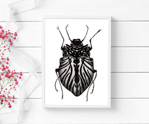 Beetle Inspiration - Entomology Inspired Ink Drawing - Art Print