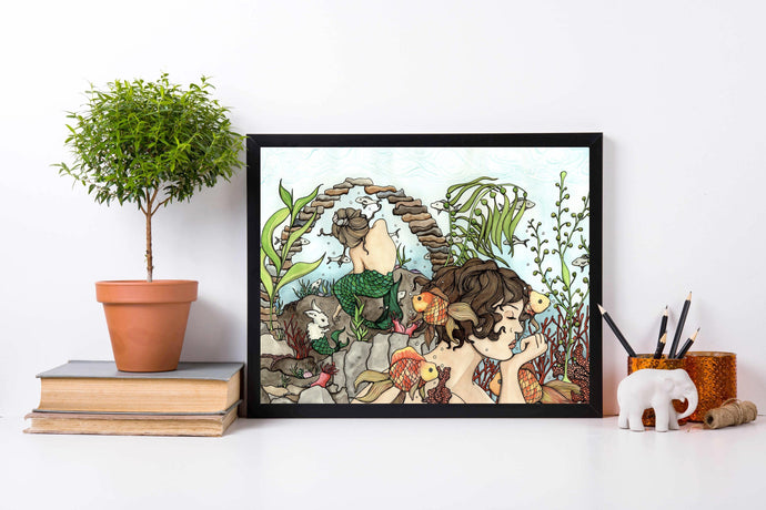 Mermaid Daydream - Mythology Inspired Watercolor Painting - Art Print