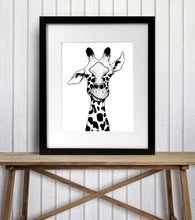 Load image into Gallery viewer, Irritated - Funny Giraffe Inspired Ink Drawing - Art Print
