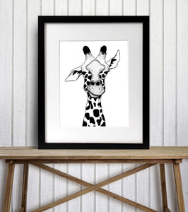 Irritated - Funny Giraffe Inspired Ink Drawing - Art Print