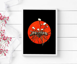Zombie Ant - Cordycep Fungi Inspired Watercolor - Art Print
