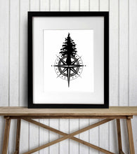 Load image into Gallery viewer, Tall Tree Compass - Pacific NW Inspired Ink Drawing Illustration - Art Print