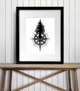 Tall Tree Compass - Pacific NW Inspired Ink Drawing Illustration - Art Print