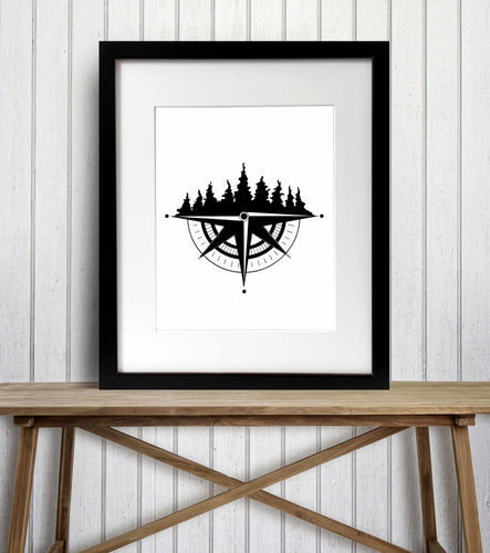 Tree Ridge Compass - Pacific NW Inspired Ink Drawing Illustration - Art Print