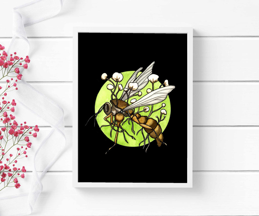 Zombie Wasp - Cordycep Fungi Inspired Watercolor - Art Print