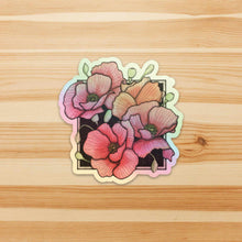 Load image into Gallery viewer, Shiny Poppies- Floral Inspired Watercolor Painting - Holographic Vinyl Sticker