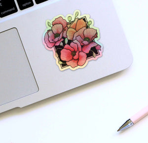 Shiny Poppies- Floral Inspired Watercolor Painting - Holographic Vinyl Sticker