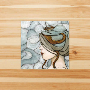 Adrift - Nautical Inspired Watercolor Painting - Vinyl Square Sticker