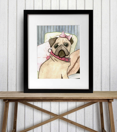 Princess Pug - Puppy Inspired Watercolor Painting - Art Print