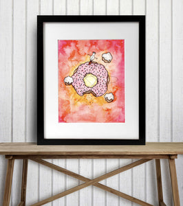 Cosmic Doughnut - Whimsy Inspired Watercolor Painting - Art Print