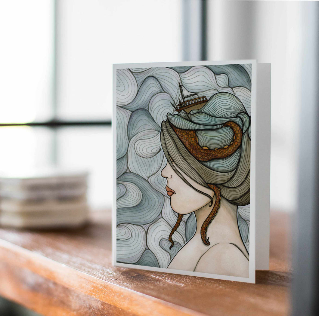 Adrift - Mental Health Inspired Watercolor Art Print - Handmade Note Card