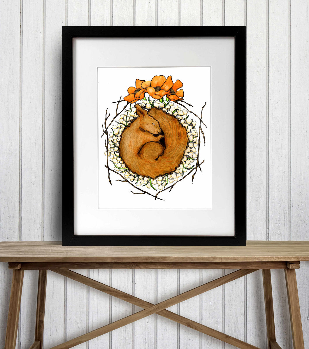 Be Like the Squirrel - Autumn Inspired Watercolor Painting - Art Print