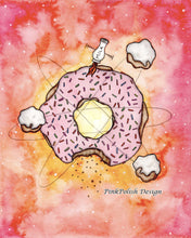 Load image into Gallery viewer, Cosmic Doughnut - Whimsy Inspired Watercolor Painting - Art Print