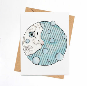 Curiosity Cat - Pet Inspired Watercolor Print - Handmade Note Card
