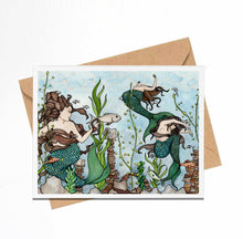Load image into Gallery viewer, Mermaid Cove - Fantasy Inspired Watercolor Art Print - Handmade Note Card